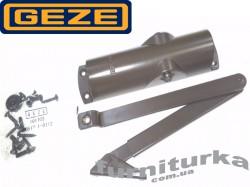 Доводчик GEZE TS 1000 C с локтевой тягой, с регулируемой скоростью закрывания и дохлопом (серебро)