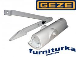 Доводчик GEZE TS 1000 C с локтевой тягой, с регулируемой скоростью закрывания и дохлопом (белый)
