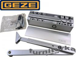 Доводчик GEZE TS 2000 VBC с локтевой тягой, с двойной регулировкой и дожимом (серебро)