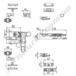 Запорный механизм к штанге с крюками, комплект с ответками R1